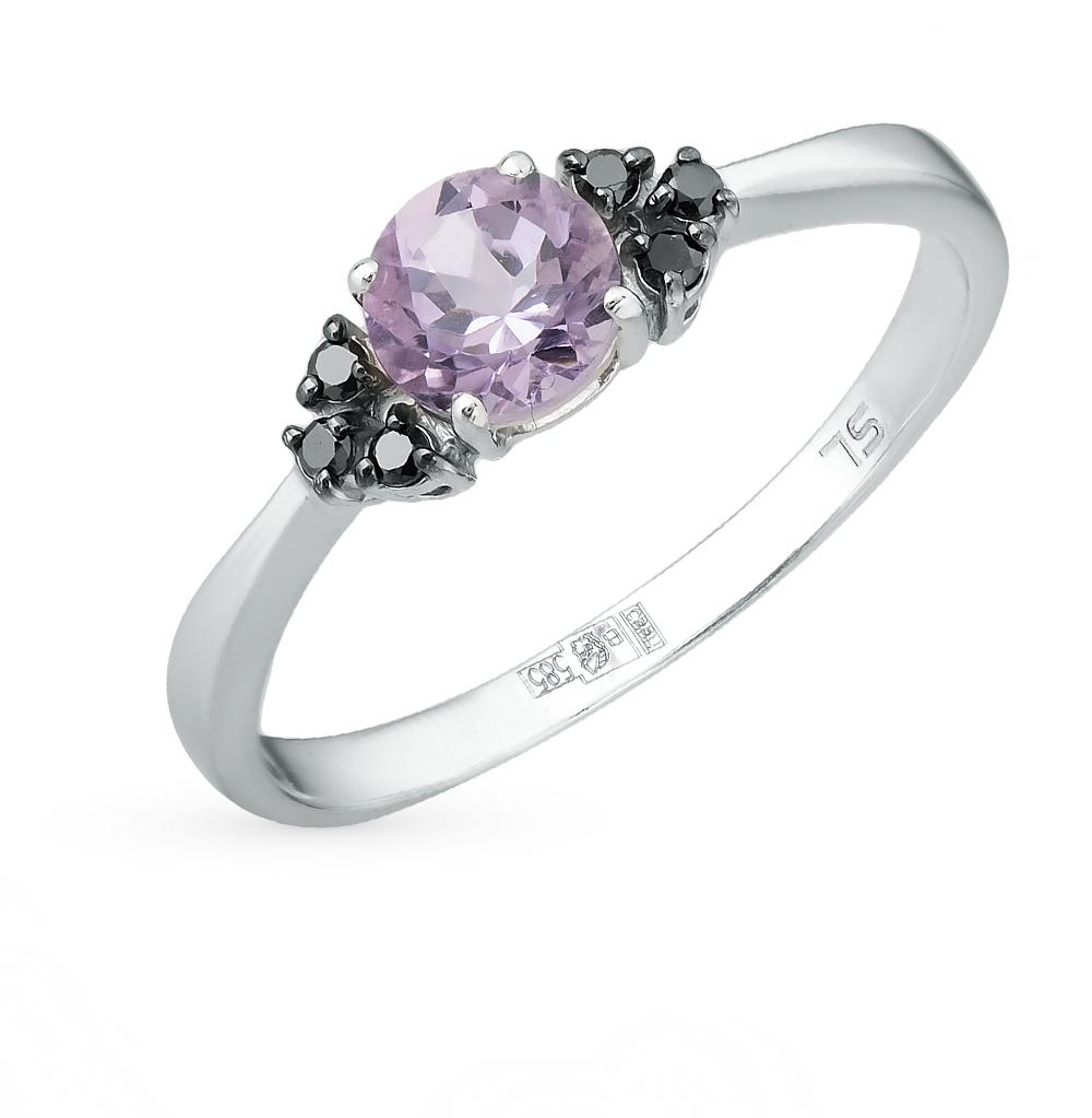Фото «золотое кольцо с чёрными бриллиантами и аметистами»