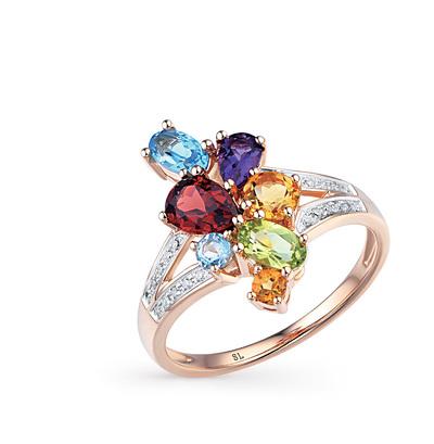 Фото «золотое кольцо с аметистом, гранатом, топазами, хризолитом и бриллиантами»