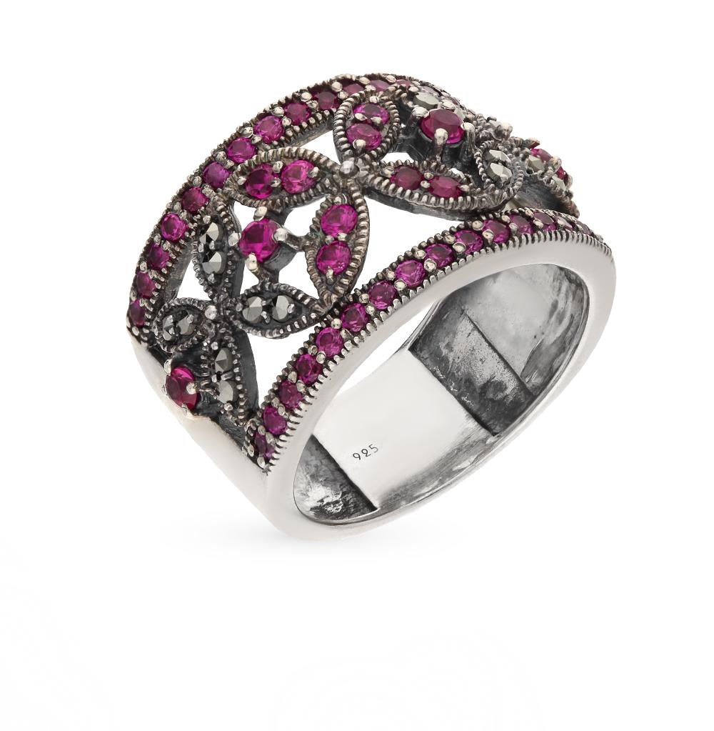 Фото «серебряное кольцо с марказитами и рубинами»