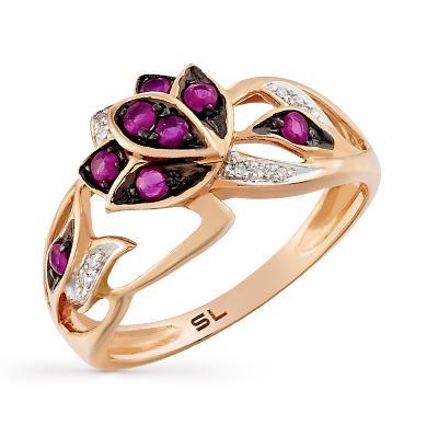 Фото «золотое кольцо с бриллиантами, корундами синтетическими и рубинами»
