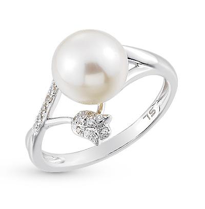 Фото «золотое кольцо с бриллиантами, фианитами и жемчугом»