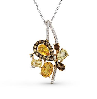 Фото «золотая подвеска с бриллиантами, цитринами и кварцами»