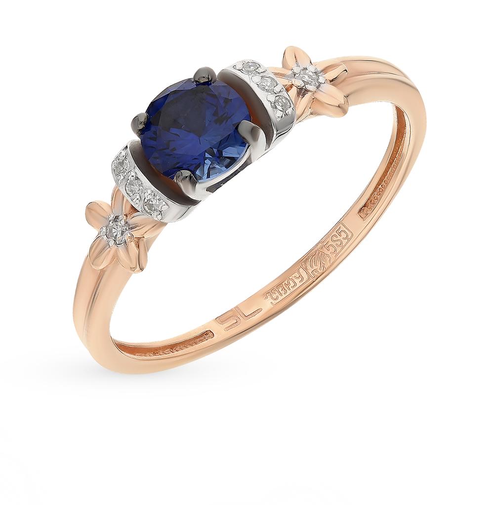 золотое кольцо с бриллиантами и сапфирами SUNLIGHT