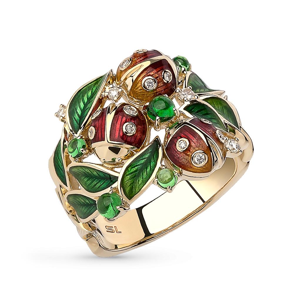 Фото «золотое кольцо с цаворитами, эмалью и бриллиантами»