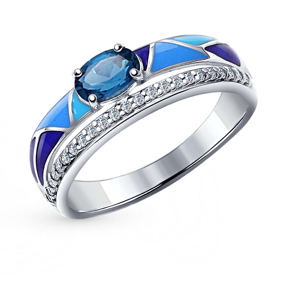 Фото «серебряное кольцо с топазами, фианитами и эмалью»