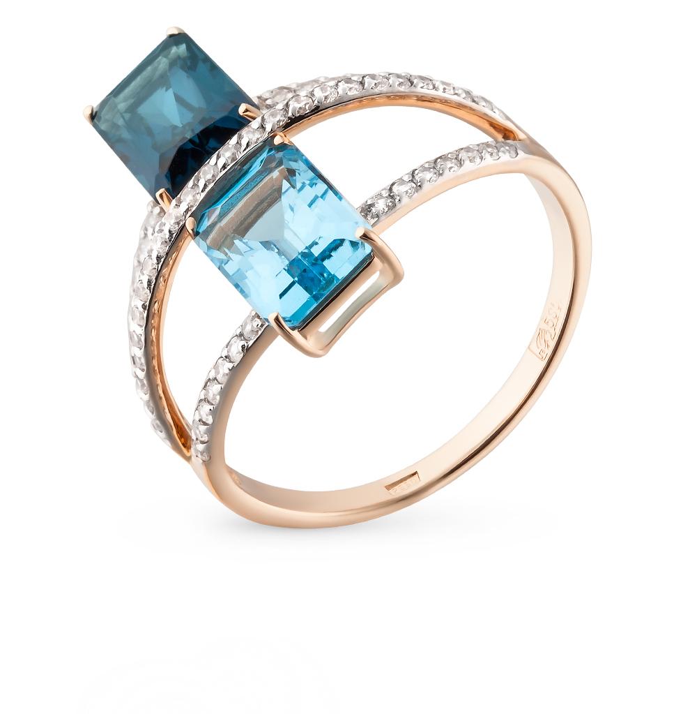 Фото «золотое кольцо с со шпинелью, топазами и фианитами»