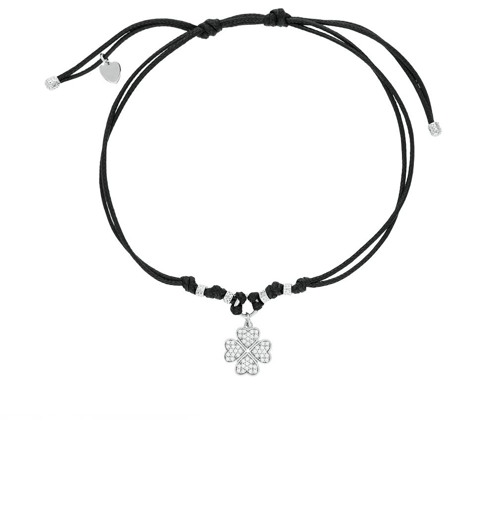 Фото «текстильный браслет с серебром и фианитами»