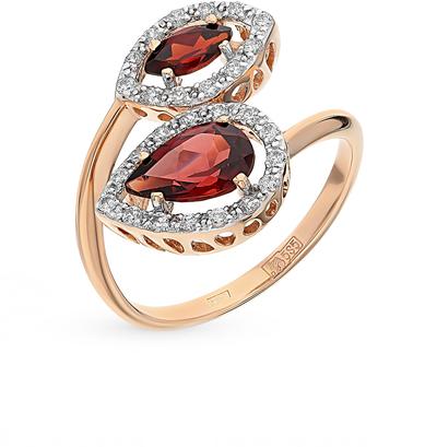 Фото «золото кольцо с гранатом и фианитами»