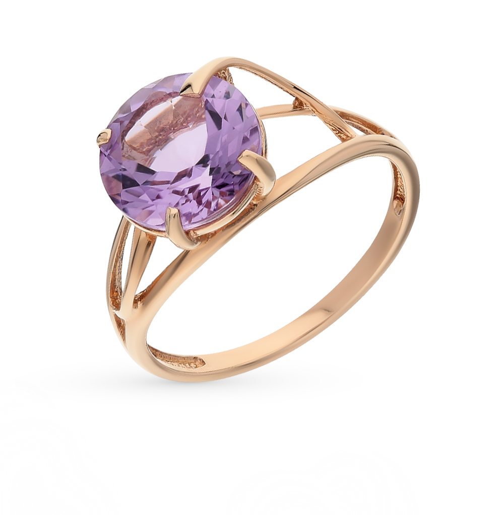 Фото «золото кольцо с аметистом и топазами»