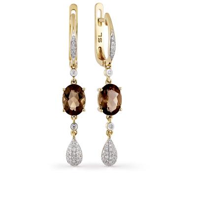 Фото «золотые серьги с раухтопазами (кварцами дымчатый) и бриллиантами»